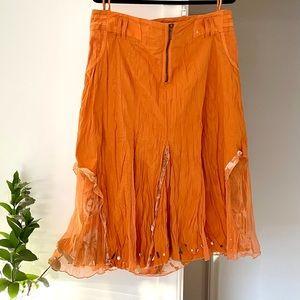 Casual Bright Orange Midi A line skirt Plus Size